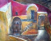 """The Courtyard"" oil with encaustics 5' x 6.5'"